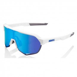 Lunettes 100% S2 Matte White Hiper Blue Multilayer Mirror lens