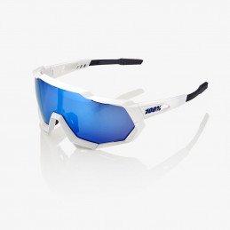 Lunettes 100% Speedtrap - Blanc mate - Ecran miroir bleu